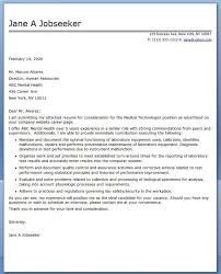 Medical Technologist Cover Letter Examples Creative Resume