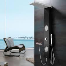 Schwarz Weißes Alu Duschpaneel Für Brauseanschluss Wasserfall Massage Und Regendusche Von Sanlingo