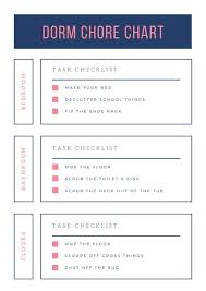Chore Chart Editable Template Dark Blue And Pink Minimalist Dorm Chore Chart Templates