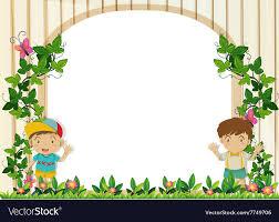 Border Design Border Design With Boys In The Garden