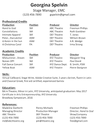 The standard stage manager resume format.