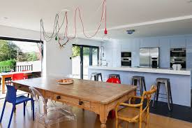 london modern farmhouse table with mini pendant lights kitchen contemporary and chairs open plan