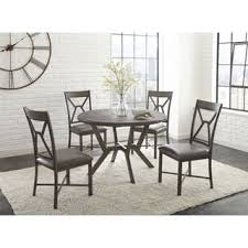 round dining table set. Asbury Grey Faux Leather And Metal 5-piece Round Dining Set By Greyson Living Table