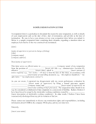 Letter Of Resignation Templates Word Sample Job Resignation Templates 2018 Business Letter Format For