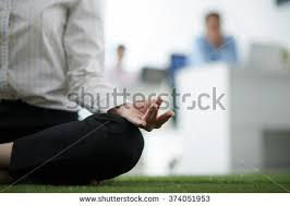 meditation office. business woman meditating in the office meditation