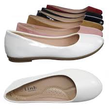 flexible white patent by forever link girl children comfy foam pad ballet ballerina round toe flat