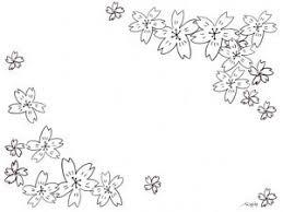 フリー素材桜のフレームモノトーンのシンプルな鉛筆画の桜の花いっぱい