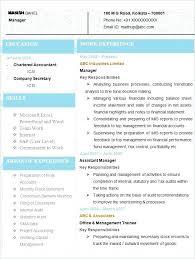 Chartered Accountant Cv Template Uk Accountants Sample Co