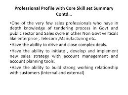 Professional Skill Set Professional Profile With Core Skill Set Summary