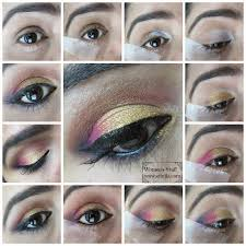 gold pink smokey eye makeup step by step picture tutorial
