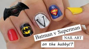 BATMAN V SUPERMAN ... Nail Art On The Hubby?! - YouTube