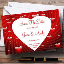 Red Save The Date Cards Deep Red Romantic Love Hearts Personalized Wedding Save The Date Cards