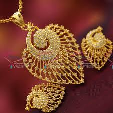 ps4132 ad stones peacock design fancy jewellery pendant set gold finish