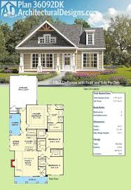 Architectural Designs 3 Bed Craftsman House Plan 36092DK has a front and a  side covered porch