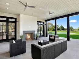modern outdoor fans. Beautiful Outdoor Covered Patio With Gray Modern Outdoor Fireplace Throughout Fans L