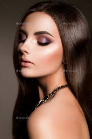 make up glamour portrait of beautiful woman model with fresh makeup and romantic hairstyle