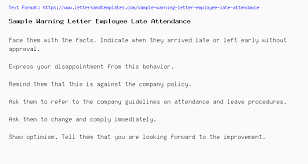 How To Write A Warning Letter To An Employee Sample Warning Letter Employee Late Attendance
