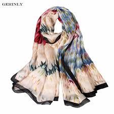 Designer Silk Scarves Us 7 99 Gerinly Brand Silk Scarf Women Luxury Printed Scarves Fashion Designer Soft Shawls Pashmina Foulard Femme Long Size Bandana In Womens