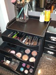 Use a desktop organizer to hold makeup. This is prettier than the little  plastic drawers I currently use. Much better for our future bathroom.