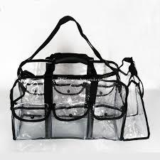 ravishing transpa clear makeup bag with belt handle zipper small cosmetic bags bulk handle large size