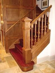 wood stair railing. Plain Railing Adams Stair Works Fabricated This Stair In Walnut Custom Features Include  The Rail Profile Turned 1in Balusters Design Of 6in Square  Inside Wood Railing A