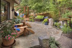 flagstone patio designs. rustic garden, container plantings, garden decor, adirondack chairs, flagstone, water feature flagstone patio designs
