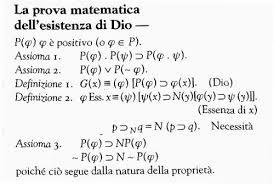 Dimostrazione matematica esistenza dio