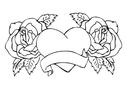 Heart Coloring Pages With Wings Hearts Roses And Flames Angel Random