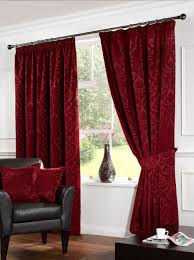 elegant kitchen curtain to add the different nuance. Elegant Red Nuance Of The Bay Window Drapes Curtains That Make Interior Living Room Design Ideas Seems Nice Inside With Wooden Kitchen Curtain To Add Different