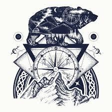 Vektorová Grafika Medvěd Dvojitá Expozice Hory Kompas Tetování
