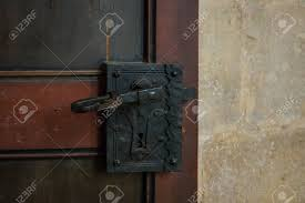stock photo the old vine door handle and keyhole