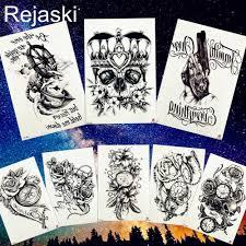 Rejaski тела художественная роспись черный череп татуировки корона пистолет роза