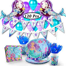 khaotic Complete Mermaid Party Supplies Set \u0026 Decorations \u2013 Includes 2 Balloons, 20 Latex Happy Birthday Banner, Tablecloth, Plates,