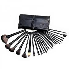 portable leather pouch included with brush set 24 piece mac makeup