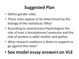 in a perfect world what should the role of men and women be  see model essay answers on vle