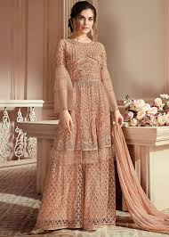 Designer Sharara Suits Beige Embroidered Pakistani Sharara Suit