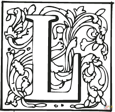 Letter L With Ornament Coloring Page Free Printable Coloring Pages