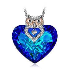 j nina owl of minerva women pendant necklace made with heart shape bermuda blue swarovski