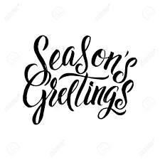 Black And White Greeting Card Seasons Greetings Calligraphy Greeting Card Black Typography