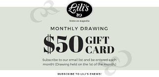 enter our monthly drawing for a 50 gift card