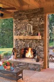 Rustic Stone Outdoor Fireplace rustic-patio