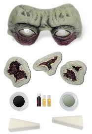 zombify your look with the toxic green zombie costume makeup prosthetics kit includes