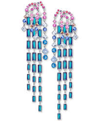 swarovski silver tone multicolor crystal chandelier earrings
