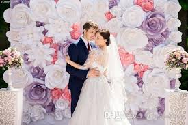 Paper Flower Wedding Backdrops Set Big Cardboard Paper Handmade Simulation Flowers Backdrops Wedding Background Decorations Deco Party Backdrop Full Wall Deco Birthday Items For