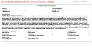 Restaurant General Manager Employment Contract | Agreements ...