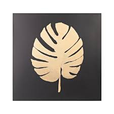 titan lighting palm frond metal in gold and black wall decor