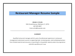 General Manager Resume Summary Examples Best of Restaurant Manager Resume Sample 24 Example General Co Bar Manag