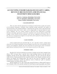 Pdf Accounting For Retailer Issued Gift Cards Revenue Recognition