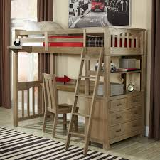 twin highlands loft bed in driftwood with desk option