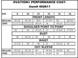 Ovation Helmet Size Chart Ovation Performance Coat
